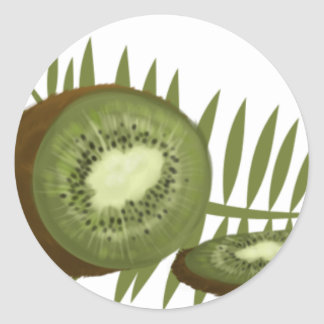 Sliced Kiwi Fruit on Fronds Classic Round Sticker
