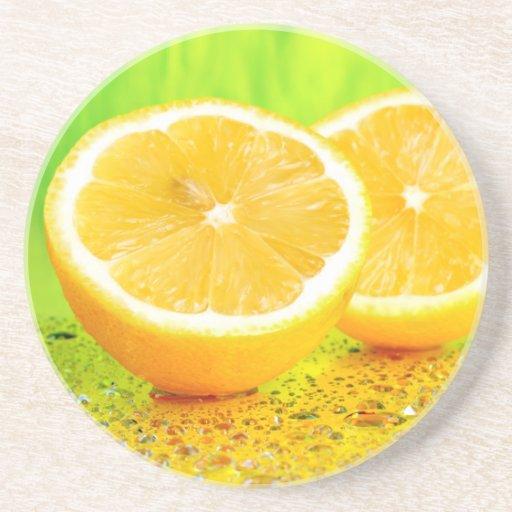 Sliced Lemon and Water Drops Coaster