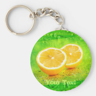 Sliced Lemon and Water Drops Keychain
