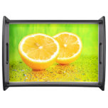 Sliced Lemon and Water Drops Serving Tray
