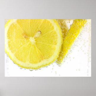 Sliced lemon in water poster