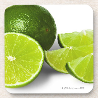 Sliced lime wedge on white background cut out drink coaster