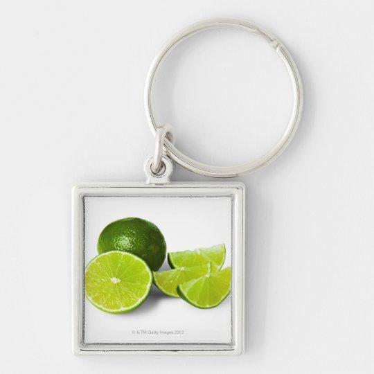 Sliced lime wedge, on white background, cut out keychain