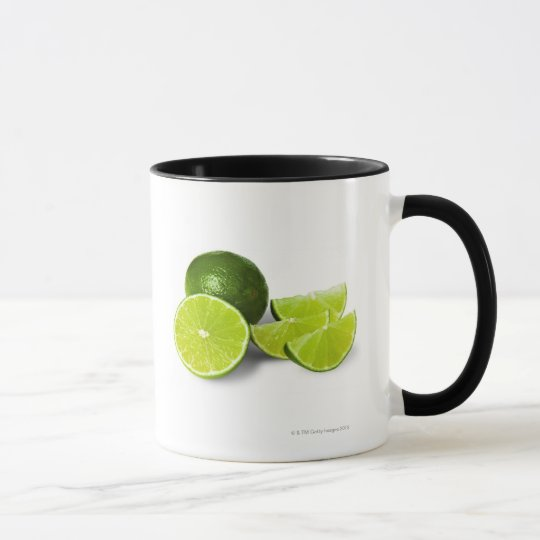 Sliced lime wedge, on white background, cut out mug