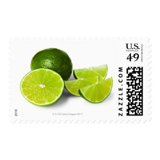 Sliced lime wedge, on white background, cut out postage stamps