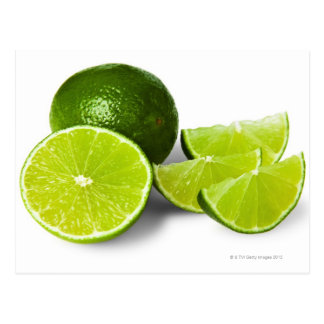 Sliced lime wedge on white background cut out postcards