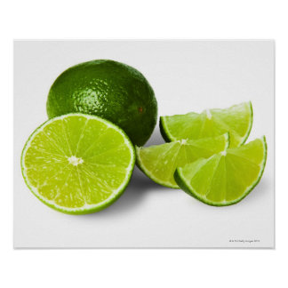 Sliced lime wedge, on white background, cut out poster