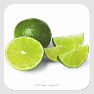 Sliced lime wedge, on white background, cut out square sticker