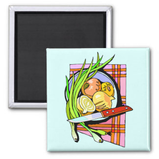 Sliced Onions and Potatoes 2 Inch Square Magnet