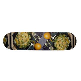 Sliced orange and lettuce salad skateboard deck