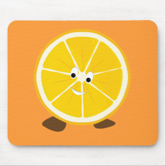 Sliced orange character mouse pad