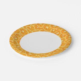 Sliced Orange Pattern Paper Plate