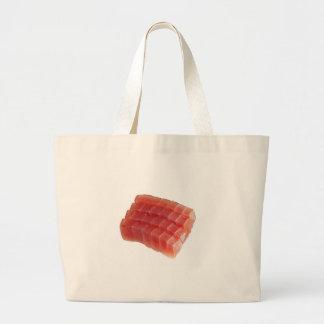 Sliced raw bluefin tuna tote bag