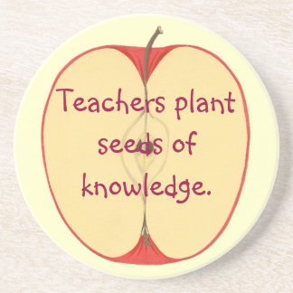 Sliced Red Apple Plant Seeds of Knowledge Coasters