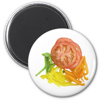 sliced tomato and peppers 2 inch round magnet