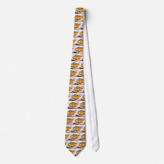 Slices of stewed potatoes and peppers on sackcloth neck tie