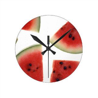 Slices of Watermelon Round Clock