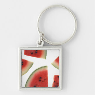 Slices of Watermelon Silver-Colored Square Keychain