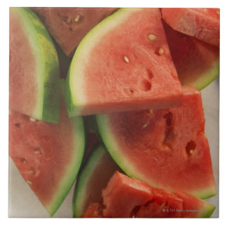 Slices of watermelon large square tile