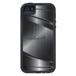 Slick Black Design Brushed Aluminum Look Case For iPhone SE/5/5s
