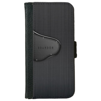 Slick Black Metallic Texture Monogram Wallet Phone Case For iPhone 6/6s