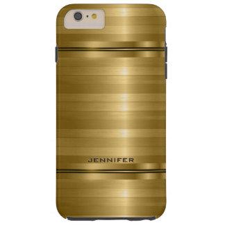 Slick Metallic Gold Print Stripes Print Tough iPhone 6 Plus Case