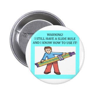 slide rule math humor pinback button