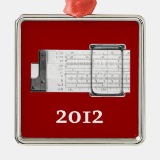 Slide Rule Square Metal Christmas Ornament