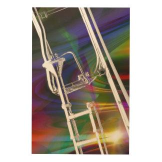 Slide Trombone Poster Photograph Add TEXT Wood Wall Art
