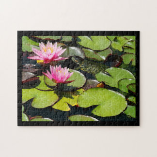 Slider Turtle Waterlily Flowers Pond Wildlife Jigsaw Puzzle