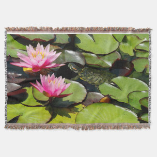 Slider Turtle Waterlily Flowers Pond Wildlife Throw