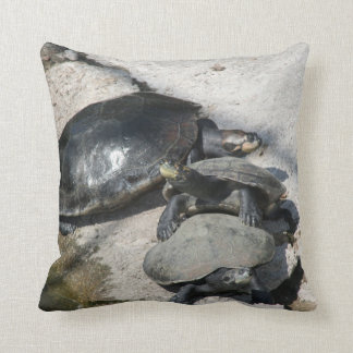 Slider turtles in a row photo throw pillow