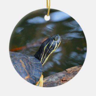 slider water turtle head out of shell Double-Sided ceramic round christmas ornament