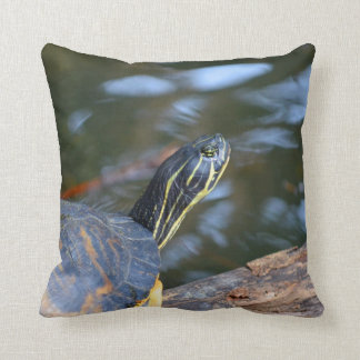 slider water turtle head out of shell throw pillow