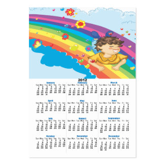 sliding down a rainbow happy vector illustration large business cards (Pack of 100)