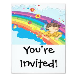 sliding down a rainbow happy vector illustration card