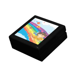 sliding down a rainbow happy vector illustration gift boxes