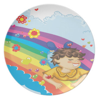 sliding down a rainbow happy vector illustration melamine plate