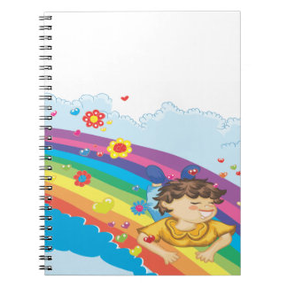 sliding down a rainbow happy vector illustration note book
