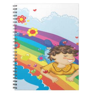 sliding down a rainbow happy vector illustration notebook