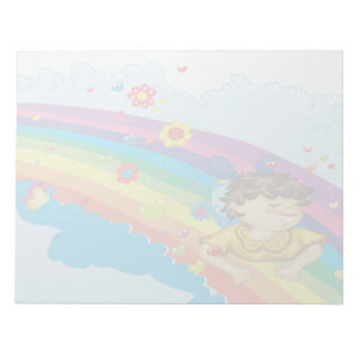 sliding down a rainbow happy vector illustration scratch pads