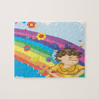 sliding down a rainbow happy vector illustration puzzles