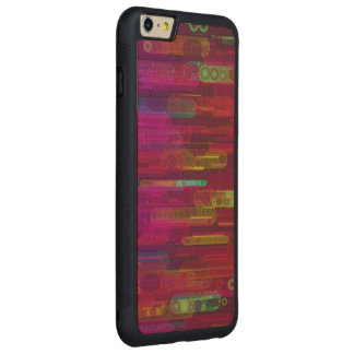 Sliding Florescent Abstract Pattern Carved Maple iPhone 6 Plus Bumper Case