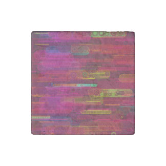 Sliding Florescent Abstract Pattern Stone Magnet