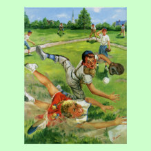 Sliding Into Home Print - Vintage illustration children and babies image with a little league baseball player sliding safely into home base.