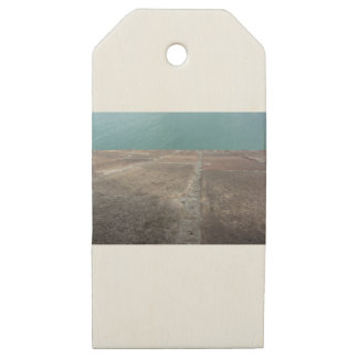 Sliding into the blue sea wooden gift tags