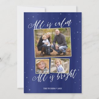 Slient Night Photo Christmas Card, Navy Blue Gold Holiday Card