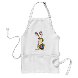 Slightly bemused Easter Bunny and basket of eggs Adult Apron