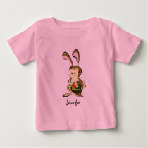 Slightly bemused Easter Bunny and basket of eggs Baby T-Shirt