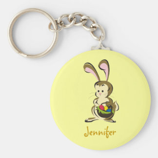 Slightly-bemused Easter Bunny and basket of eggs Keychain